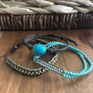 Premier Designs BFF bracelet set teal and brown